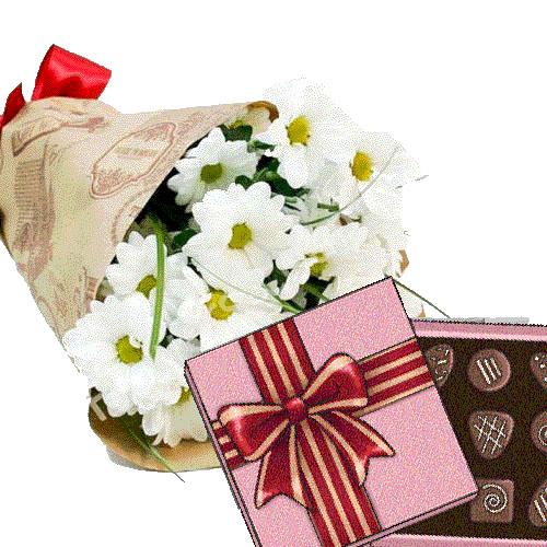 3 хризантемы с конфетами фото