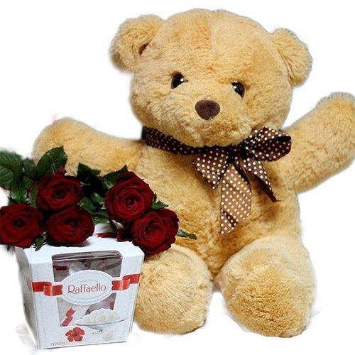 "Фото товара Мишка с букетом роз и ""Raffaello"""