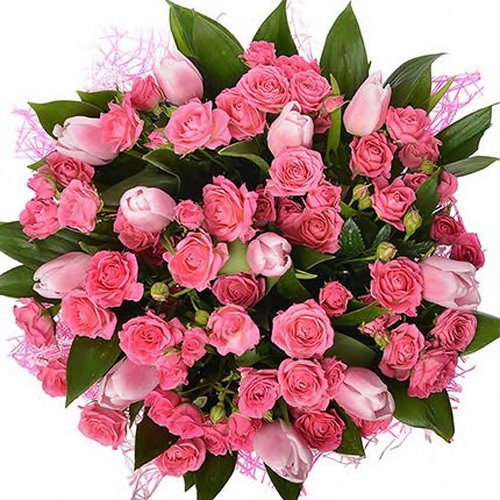букет чары розы и тюльпаны