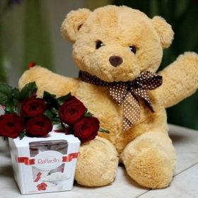 фото 5 роз, конфеты и плюшевый мишка