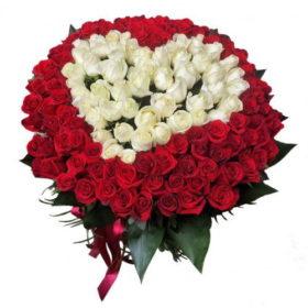 фото букет 101 роза сердце