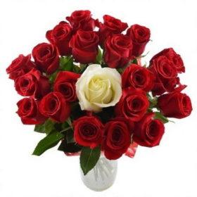 букет принцесса 20 красных и одна белая роза