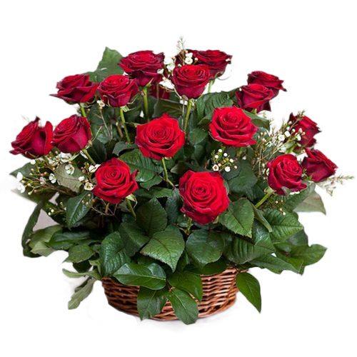 Фото товара 21 красная роза в корзине