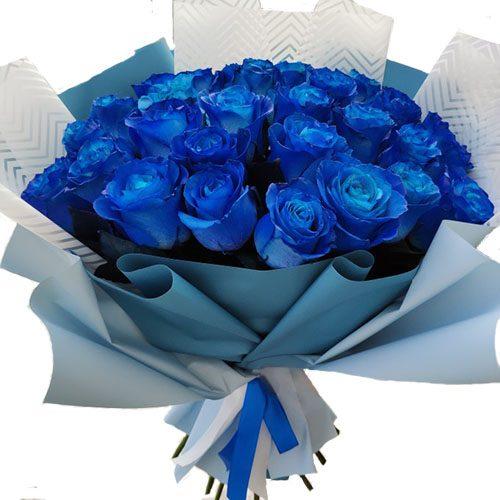 Фото товара 33 синие розы (крашеные)