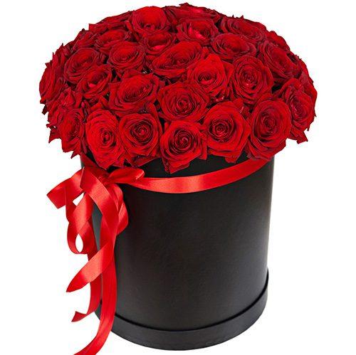 Фото товара 51 роза красная в шляпной коробке
