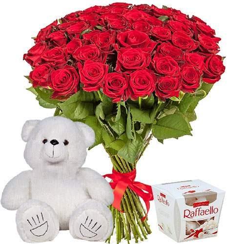 """Фото товара 51 роза, мишка и """"Raffaello"""""""
