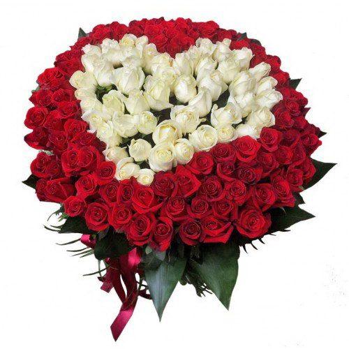 Фото товара Сердце 101 роза белая, красная