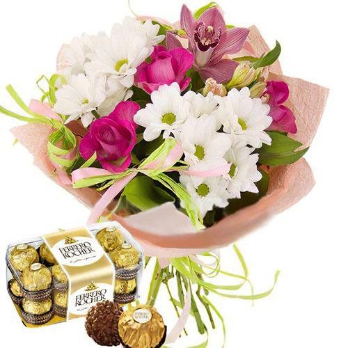"""Фото товара Букет """"С днём рождения"""" и конфеты"""