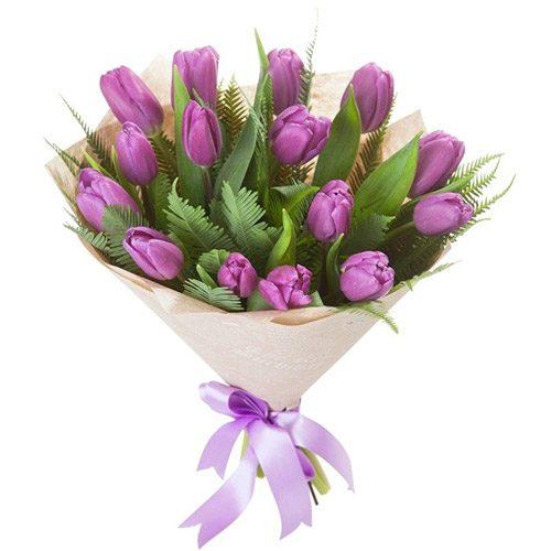 Фото товара 15 фиолетовых тюльпанов с декором