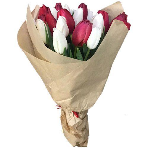 Фото товара 21 красно-белый тюльпан в крафт