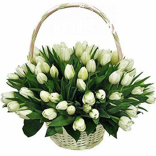 "Фото товара ""Сахарная вата"" 51 белый тюльпан в корзине"