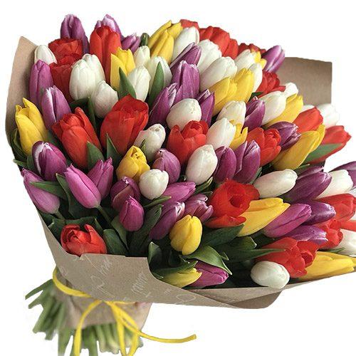 Фото товара 101 тюльпан микс (4 цвета) в крафт