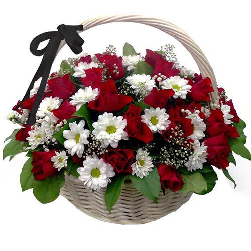 """Фото товара Корзина """"Розы и ромашки"""""""