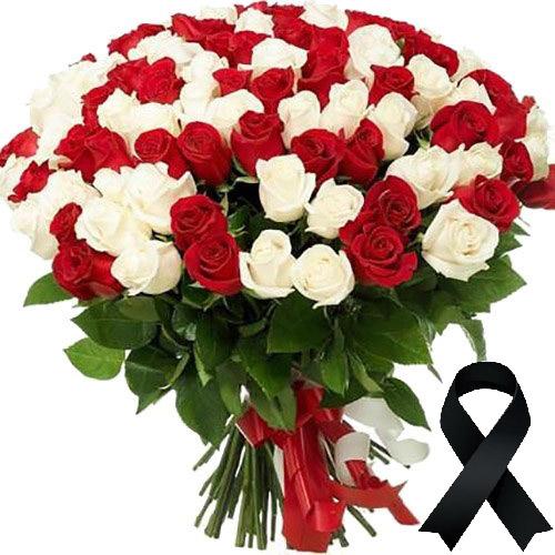 Фото товара 100 красно-белых роз