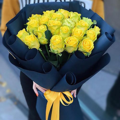 Фото товара Траурный букет жёлтых роз